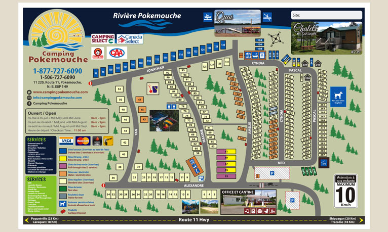 The plan of the camping site for Camping Pokemouche